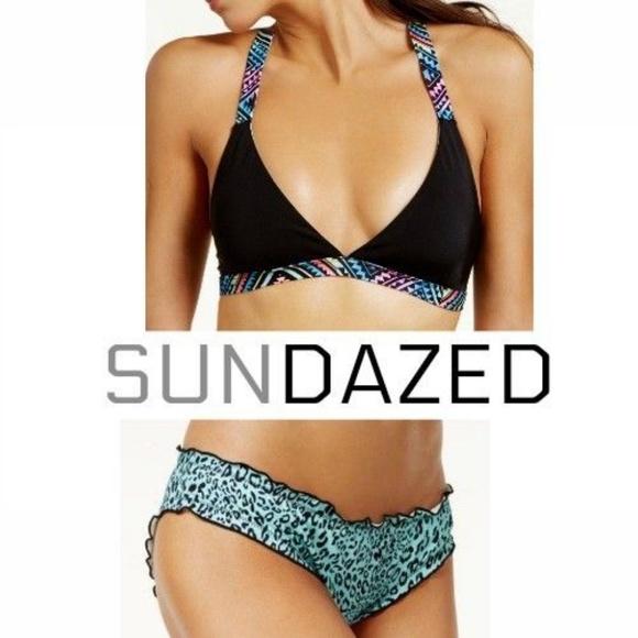 496d7a695e Sundazed Bikini Top and Black   Ruffle Bottoms